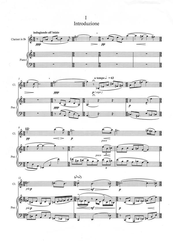 Drei Stücke für Klarinette und Klavier aus der Partitur von David Coleman