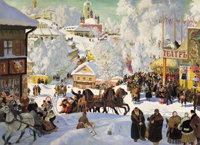 Boris Mikhaylovich Kustodiev (1878-1927) Butterwoche (Masleniza) 1919, Öl auf Leinwand Russische Kunstakademie Museum, St. Petersburg