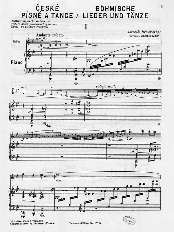 Nr. 1 aus Sechs Böhmische Lieder und Tänze