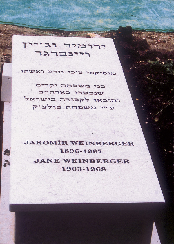The gravestone of Jaromir Weinberger and his wife at Kibbutz Gezer, Israel